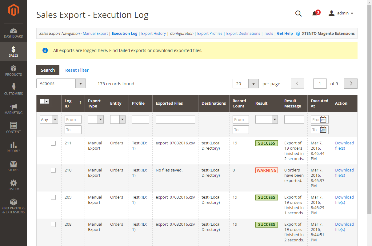 Magento Order Export Extension for Magento 2 and Magento 1: Export